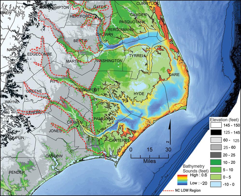 REGIONS NC Land Of Water - Map of eastern north carolina