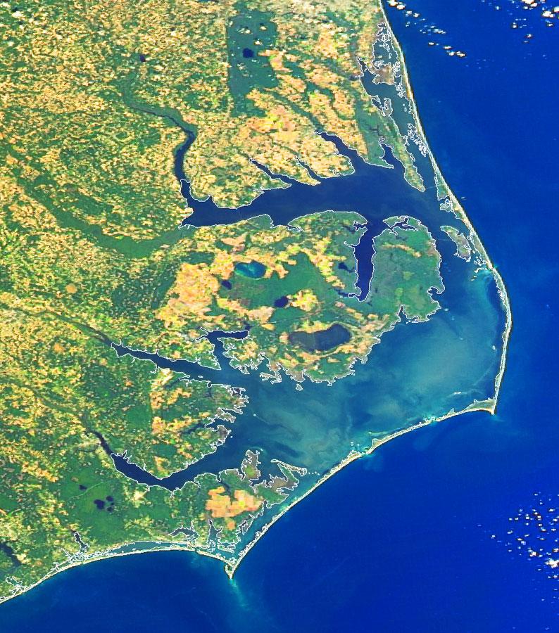 Northeastern NC coastal system satellite image (NASA MODIS, 2007).