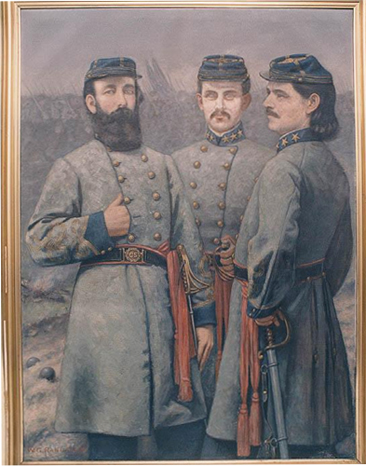 Portrait of three Cnofederate colonels: Harry K. Burgwyn, John R. Lane, and Zebulon Vance, by William George Randall, 1904. Item H. 1914.290.1. from the collections of the North Carolina Museum of History.  Courtesy of the North Carolina Department of Cultural Resources.