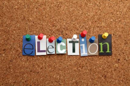 an image of the word election on a cork board
