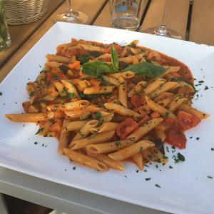 Vegetarian pasta at o'key beach restaurant in Cannes