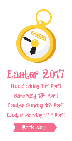 Good Friday 14th April, Saturday 15th April, Easter Sunday 16th April, Easter Monday 17th April