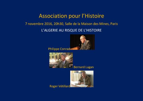 Colloque le 7 novembre : L'Algérie au risque de l'Histoire