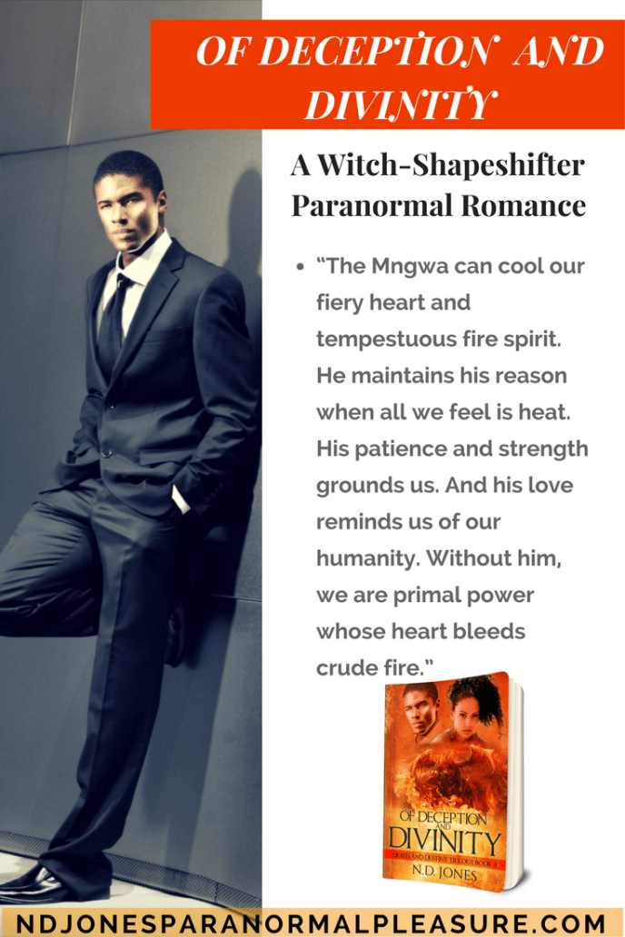 African American paranormal romance ND Jones, Of Deception and Divinity witch and shapeshifter urban fantasy (1)