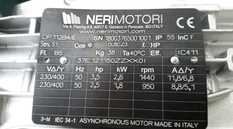 Targhetta motore elettrico - DP