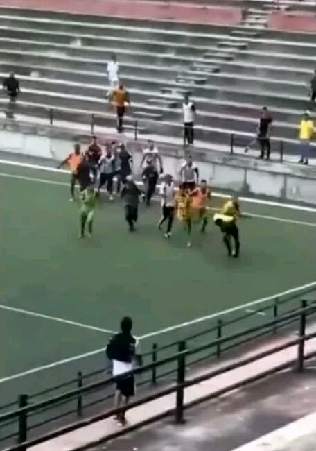 DRAMA: Footballers Chase Referee About; Beat Him Mercilessly During Match 1