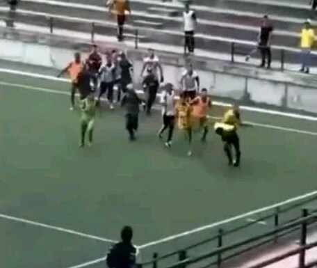 DRAMA: Footballers Chase Referee About; Beat Him Mercilessly During Match