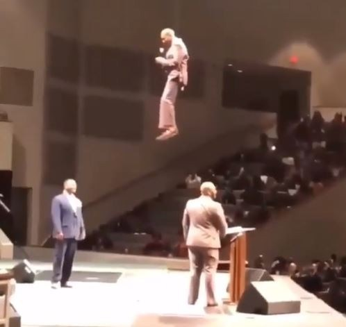"""THE FLYING PASTOR: Pastor Orr Shocks His Congregation, """"Floats"""" Into Church During Service (Pics) 1"""