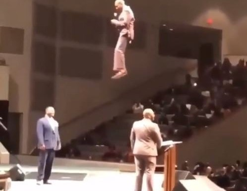 """THE FLYING PASTOR: Pastor Orr Shocks His Congregation, """"Floats"""" Into Church During Service (Pics)"""
