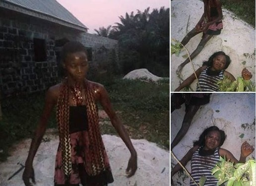 Woman Caught Trying To Behead Her Daughter In Delta State (Photos)