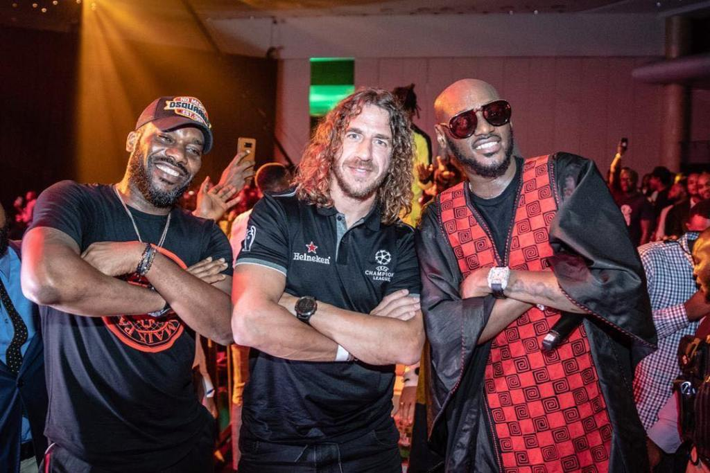 Jay Jay Okocha Pictured With 2face And Puyol At UEFA Champions League Tour