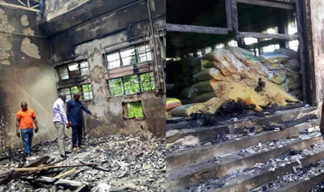 Cross River State SEMA office accidentally set on fire by thiefs while attempting to steal relief materials