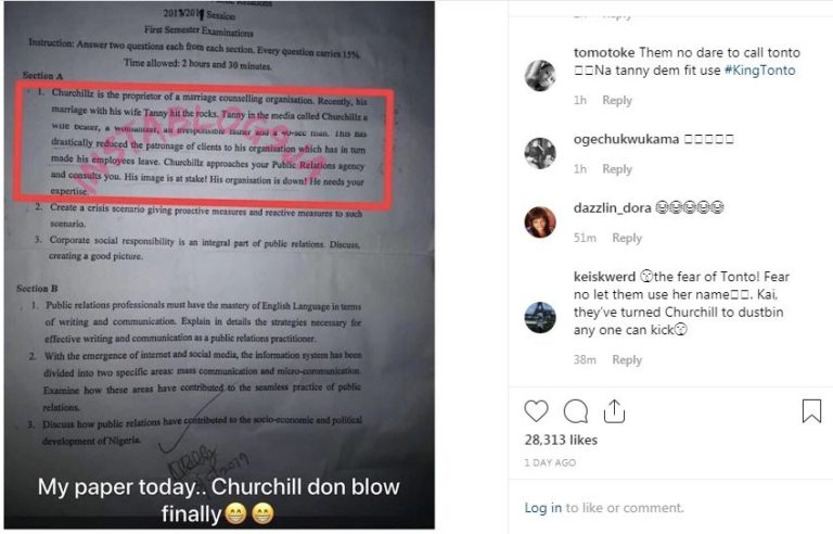 UNN lecturer references Tonto Dikeh's ex-husband Olakunle Churchill in exam question (photo)