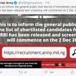 Recruitment: Nigerian Army releases list of successful candidates shortlisted, reveals screening date 9