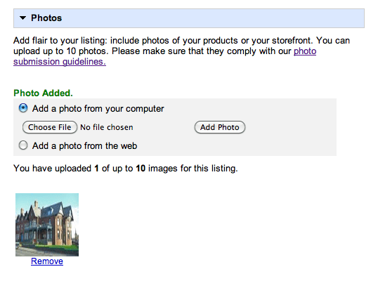 Google Places Successful Photograph Submission