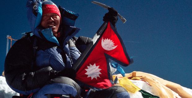 Lakpa Geljin Sherpa on the summit of Mount Everest