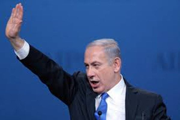 Will you tell God: photo of Netanyahu giving Nazi-like salute.