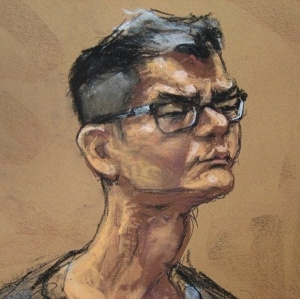 Snobs: drawing of Rudy Kurniawan from his trial.