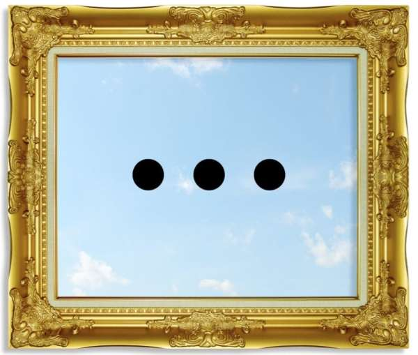 Needless: three black dots against a blue sky with clouds in a gold frame.