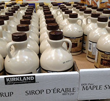 Kirkland Signature maple syrup at Costco