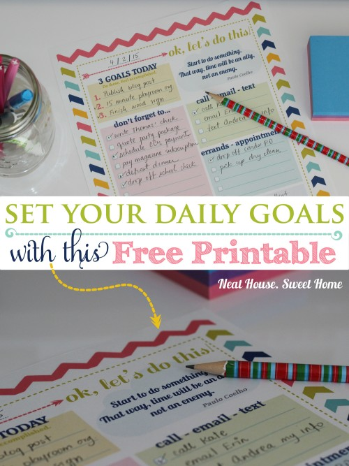 Setting daily goals. Free Printable