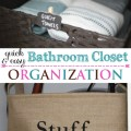 Bathroom closet organization made easy. Click to find quick tips and free printable labels for your storage baskets!