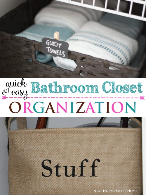 Quick and easy bathroom closet organization!
