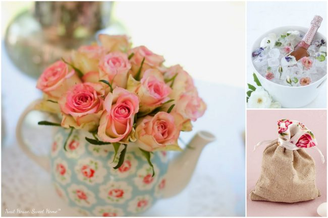 Garden Tea Party bridal shower - Teapots and roses everywhere!