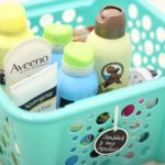 Inexpensive organization for your laundry room shelves.