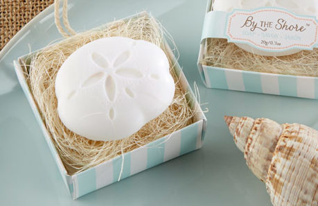 Sand dollar shaped soaps for a beach themed bridal shower!!