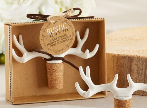 A rustic antler bottle stopper, perfect favor for a rustic / western bridal shower!