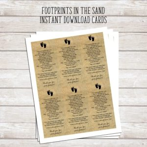 DIY Footprints in the Sand Baptism Favors | An excerpt of this beautiful prayer is tucked inside these miniature glass jars. This is a beautiful keepsake for Baptism, Dedication, and First Communion.