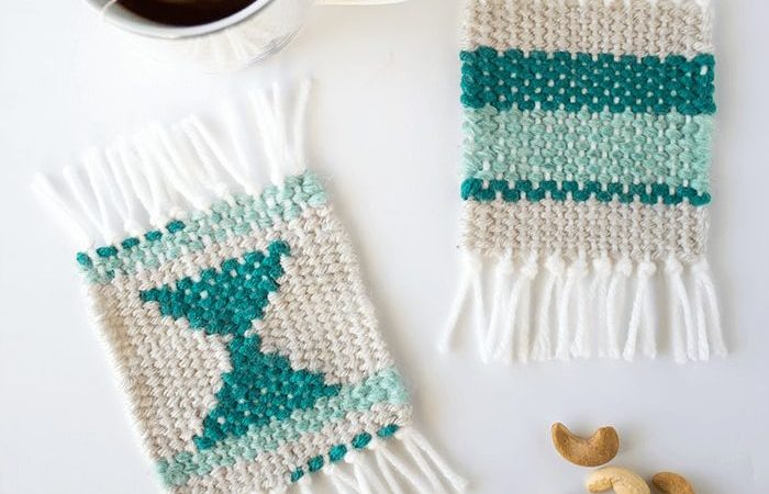 Make some super cute woven coasters using cardboard, yarn and needle. So simple and beautiful to create. A great project for beginner weavers!