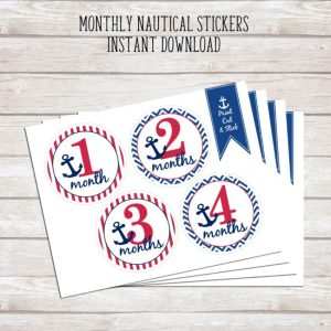 Monthly Nautical Stickers - Instant Download | Print at Home