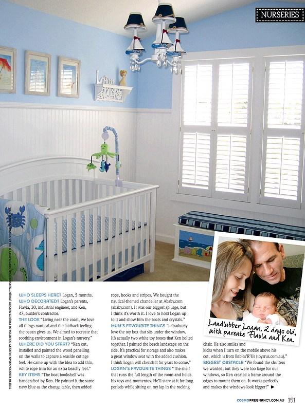 Nautical Nursery Featured on cosmopolitan Pregnancy - Australia - Flavia Andrews