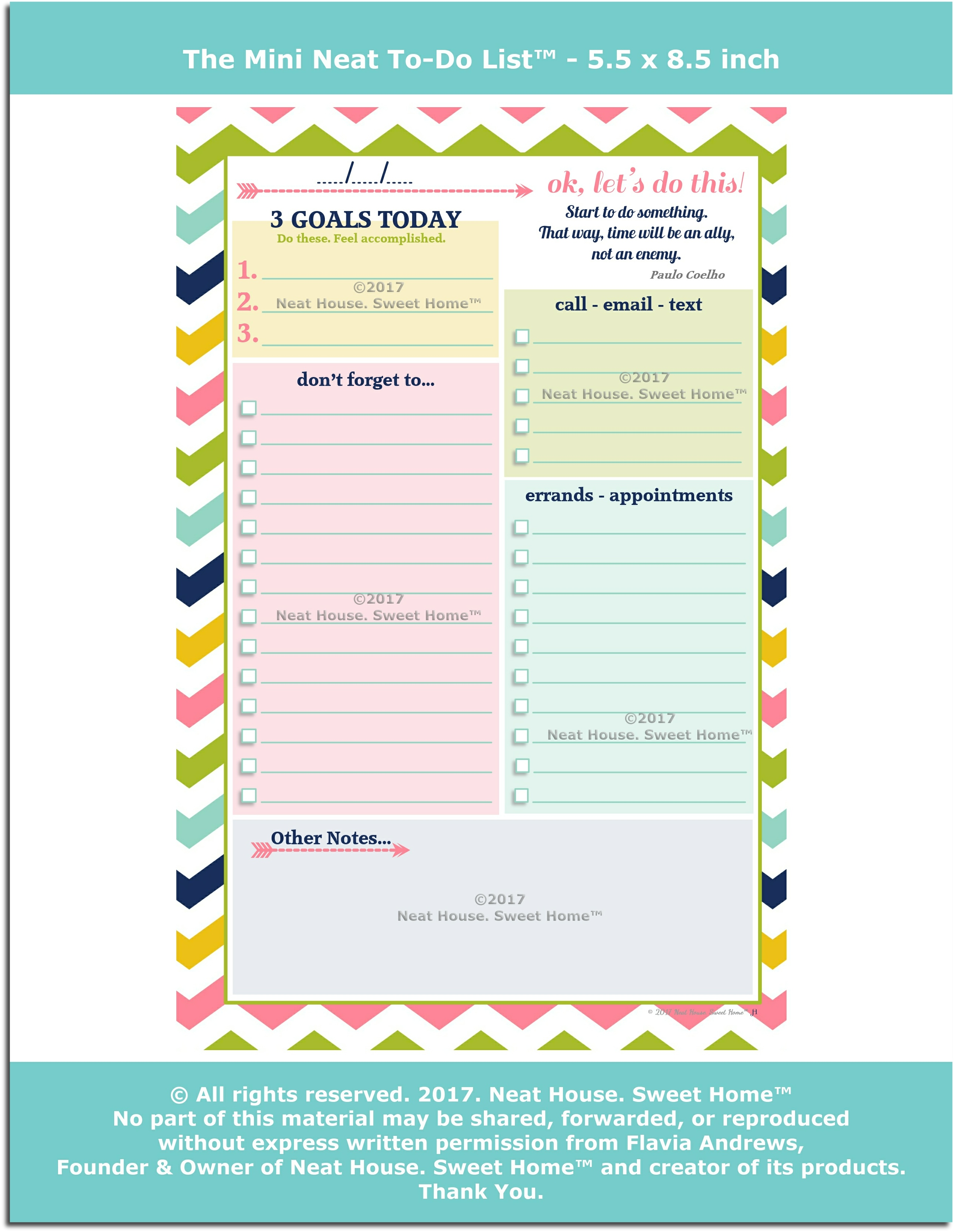 this 55 x 85 inch to do list is the mini version of our popular daily