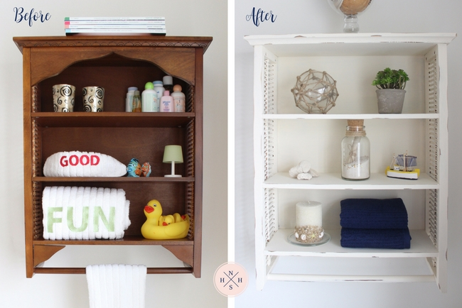 An old over the toilet bathroom cabinet gets a shabby chic makeover in 3 easy steps.
