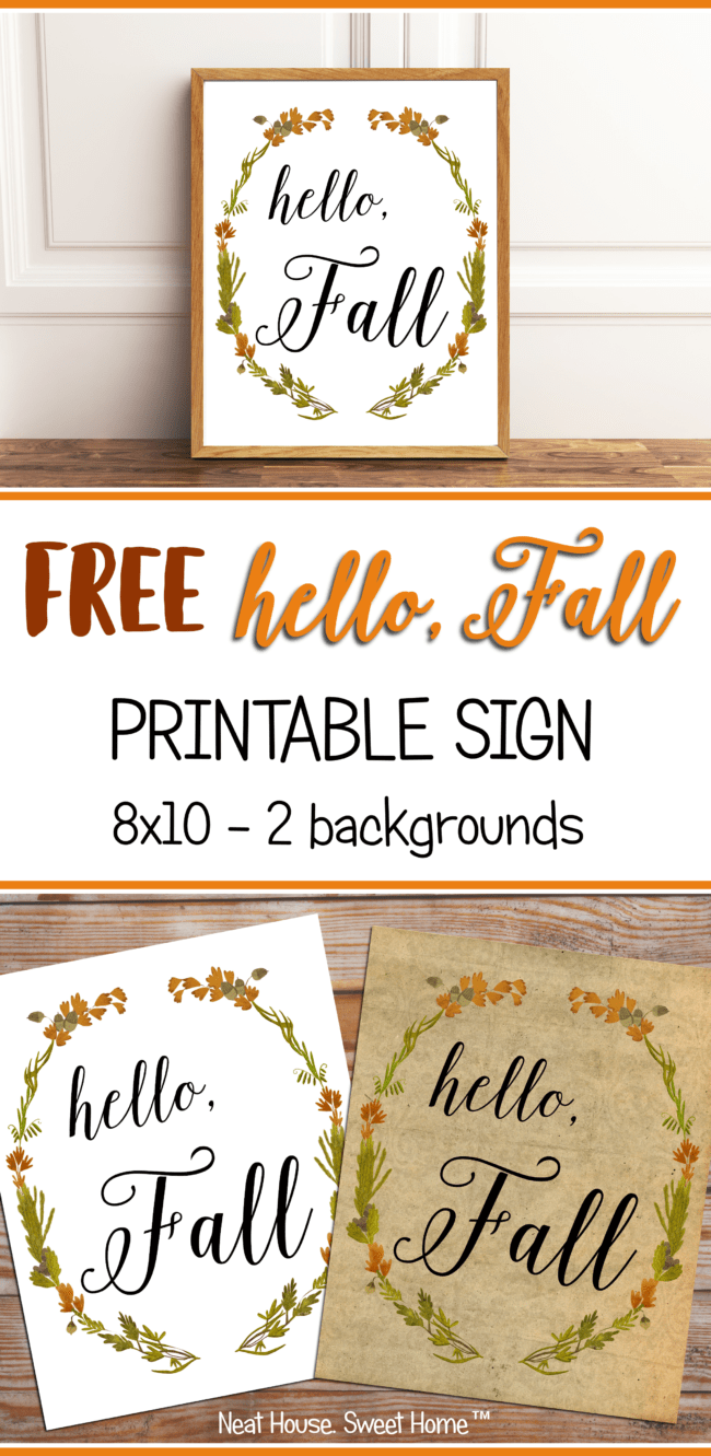Fall is in the air! Welcome the season with this beautiful 'Hello, Fall' free printable sign. Size is 8x10, one PDF file, with two backgrounds.