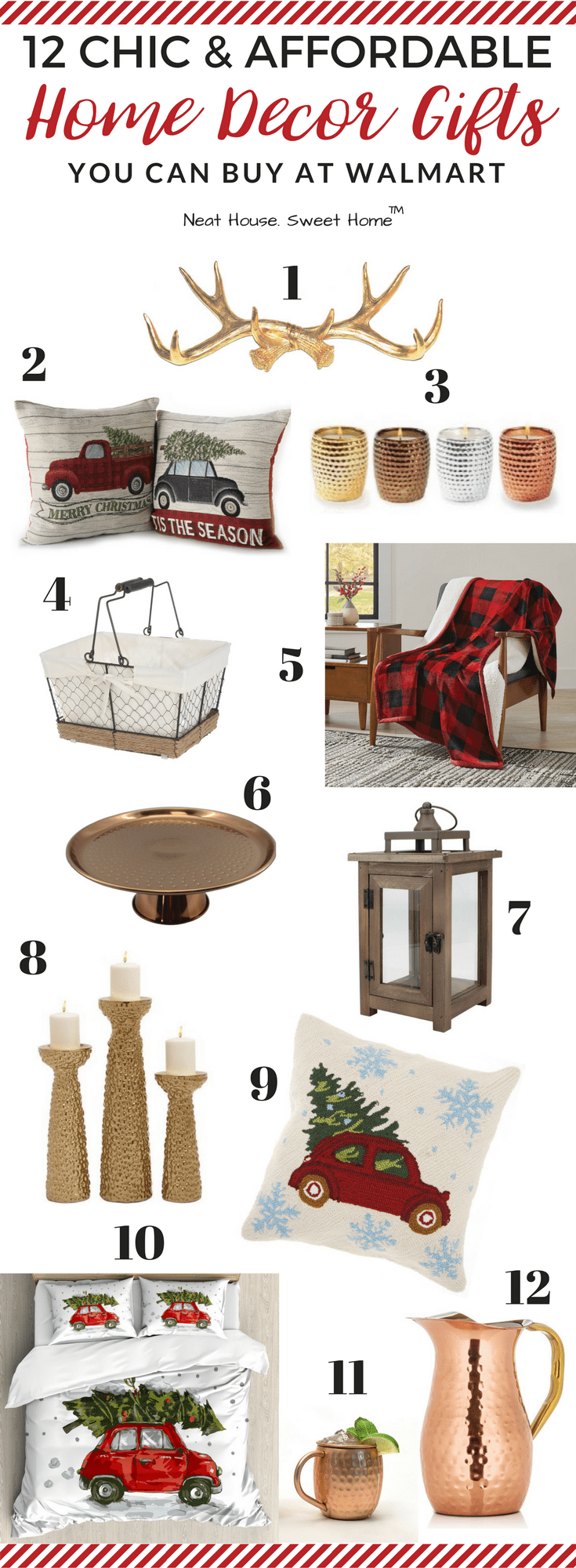 Home Decor Gift Ideas Part - 19: ... Home Decor Gift Ideas From Walmart. Rustic Farmhouse, Gold Or Copper,  Chicken Wire Or Ceramic, Deer Antlers, Buffalo