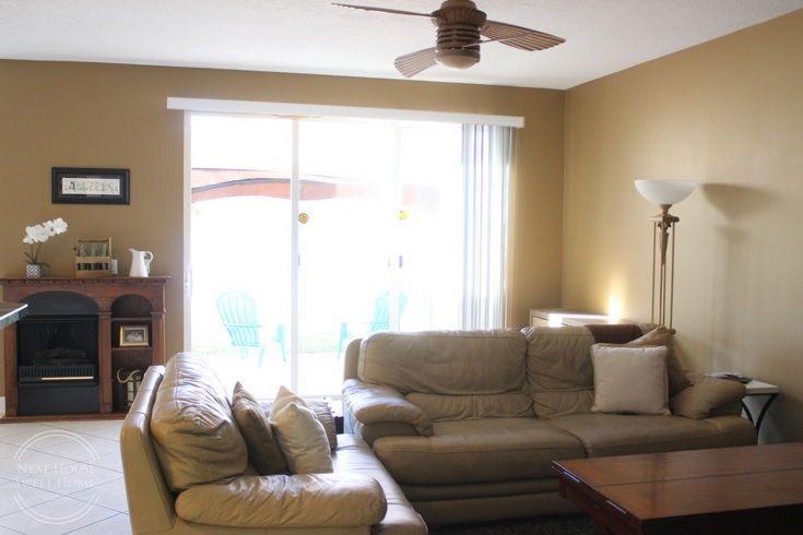 This family room makeover was a breeze to pull off. I used HGTV HOME™ by Sherwin-Williams INFINITY Interior Paint and Primer in Grayish (HGSW2447).