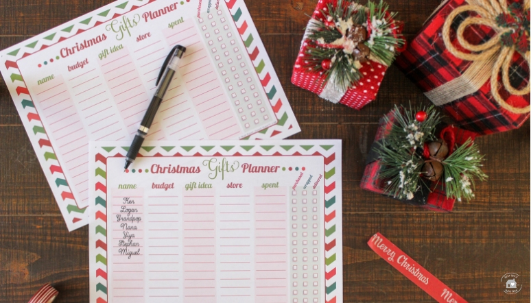 Christmas Gifts Planner Printable Stress Free Holiday Shopping