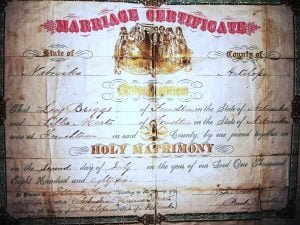 Levi Briggs and Lilly Marte were married in Frenchtown, Nebraska on July 2, 1886