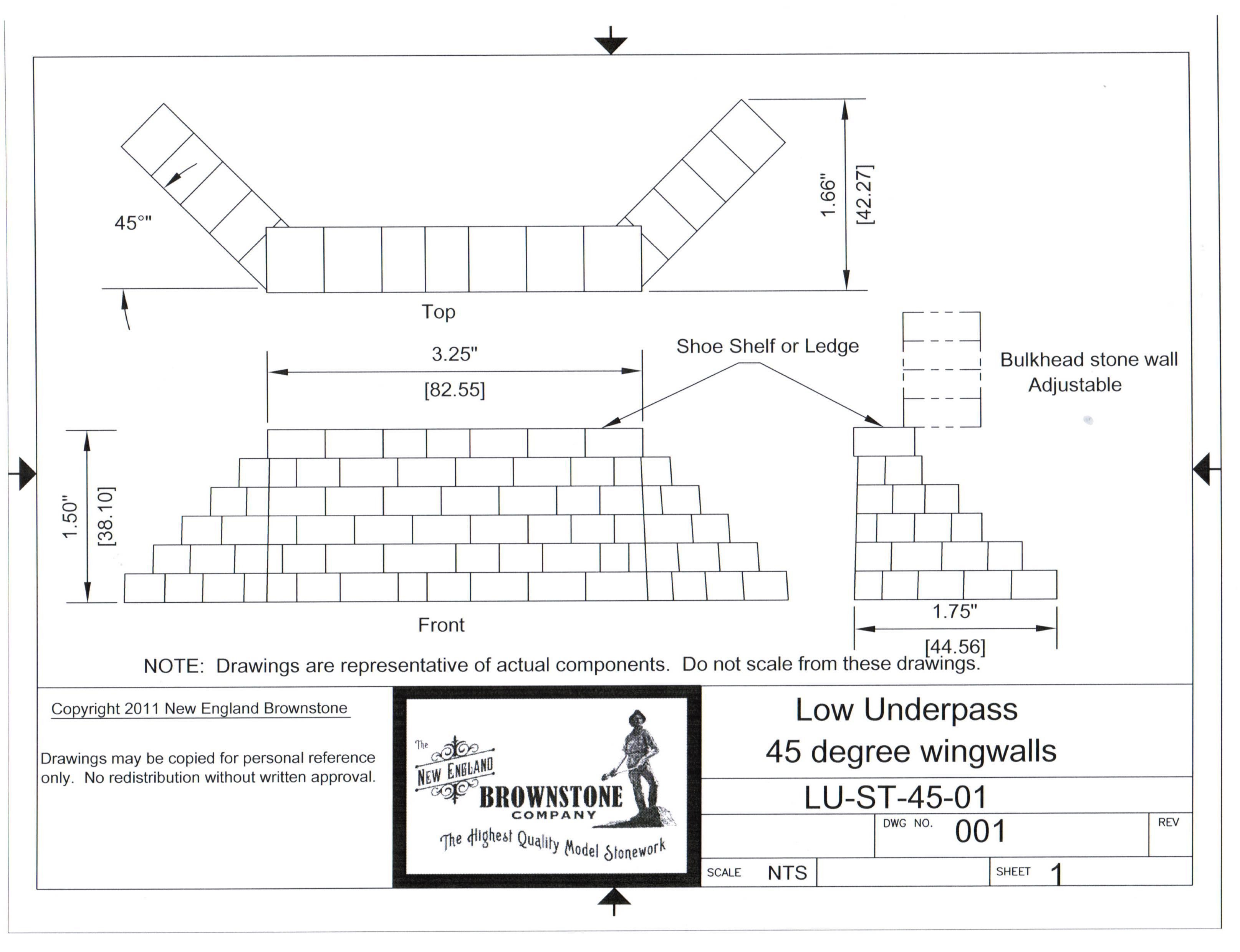 Low underpass 45 degree wing walls new england brownstone low underpass 45 degree wing walls ccuart Choice Image