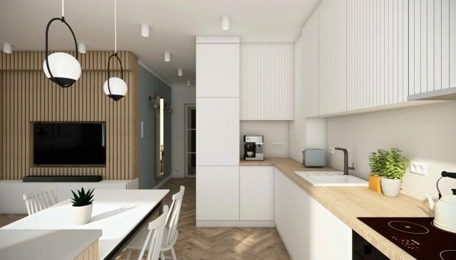Wykończenie domu - wizualizacja kuchni z innego kąta