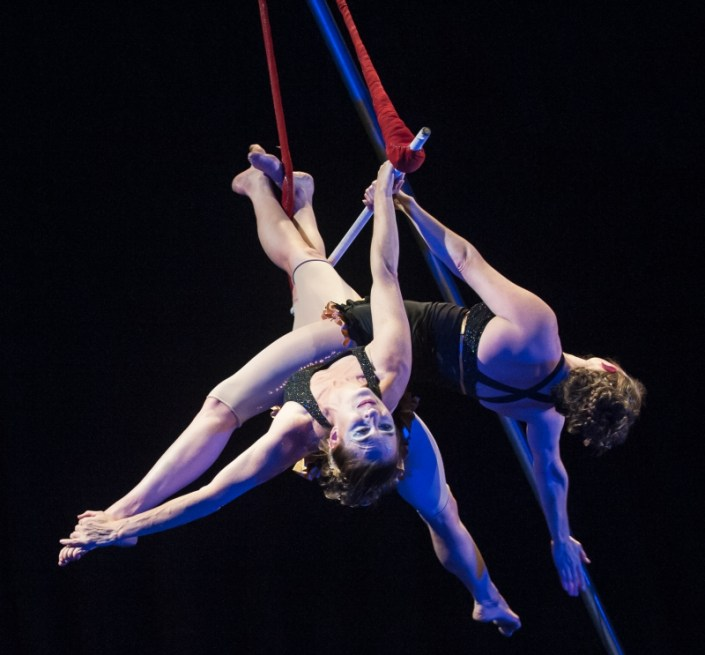 photo of NECCA's founders performing a duet on trapeze