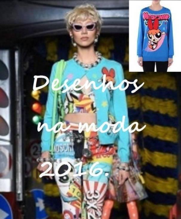 Necessaire da Diva desfile-moshino-Desenhos-2016 Roupas com desenhos animados: tendência 2016. Moda  roupas com desenhos animados a nova tendência roupas com desenhos animados roupas com as meninas poderosas moshino moda com desenhos animados