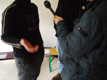 Einer der Aktivisten im Interview mit dem SWR-Hörfunkreporter