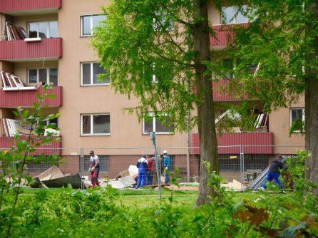 Nur ein Arbeiter trägt eine Schutzmaske. Auch in keiner anderen von uns beobachteten Situation waren während der Entkernung im Laufe des Monats Mai mehr Schutzvorkehrungen zu erkennen | Foto: Neckarstadtblog