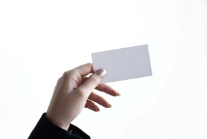 a piece of blank card on hand