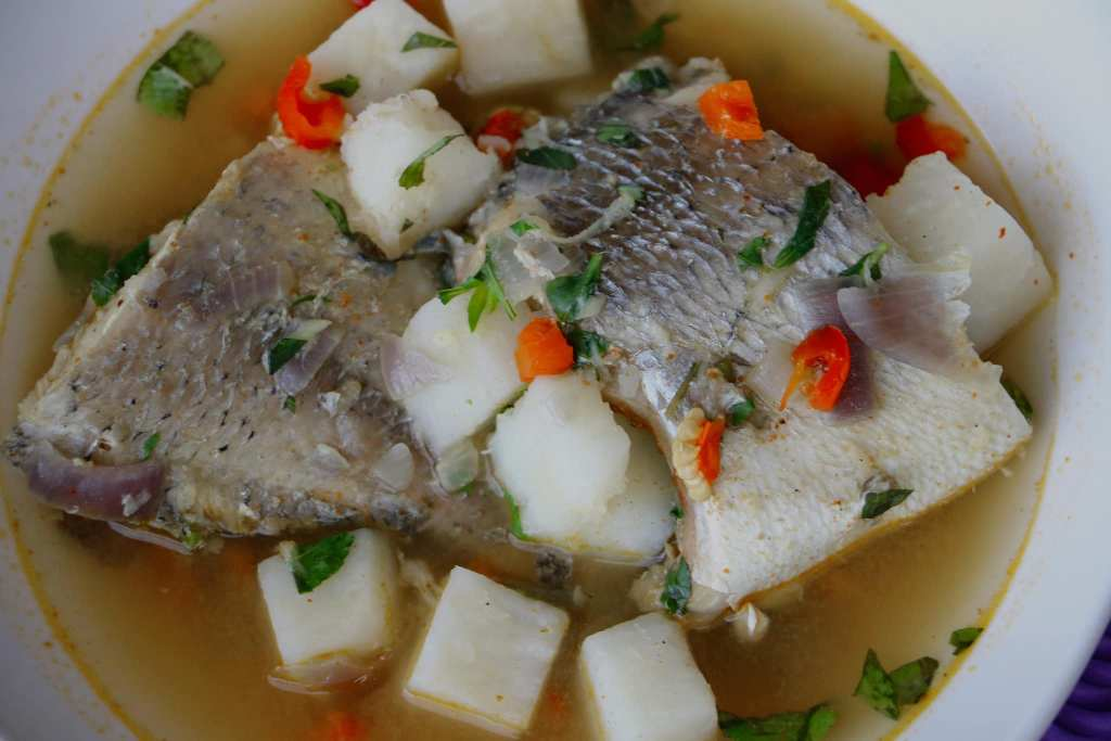 yam peppersoup with fresh fish
